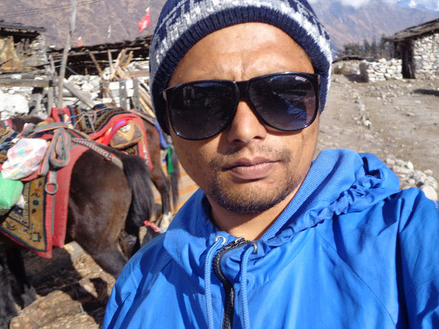 Naba Thapa, Manaslu trek guide at the Show Village manaslu trek Nepal