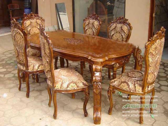 meja kursi makan set ukiran ganesha kirana