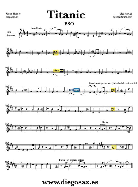 "Partitura de Titanic para Saxofón Soprano ""Rose de Titanic"". Para tocar con el Track número 4 del CD de su banda Sonora por James Horner. Podéis tocar la partitura mientras suena la música. (Soprano Saxophone Sheet music for Titanic sax music score)"