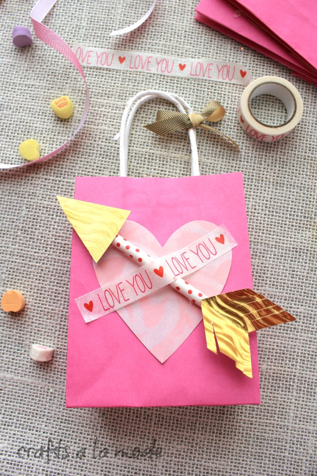 Valentine Arrow Love You Gift Bags Crafts A La Mode