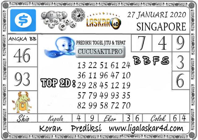Prediksi Togel SINGAPORE LASKAR4D 27 JANUARI 2020