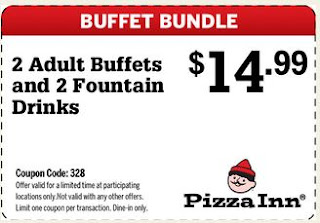 Print out coupons for Pizza Inn. BeFrugal updates printable coupons for Pizza Inn every day. Print the coupons below and take to a participating Pizza Inn to save.