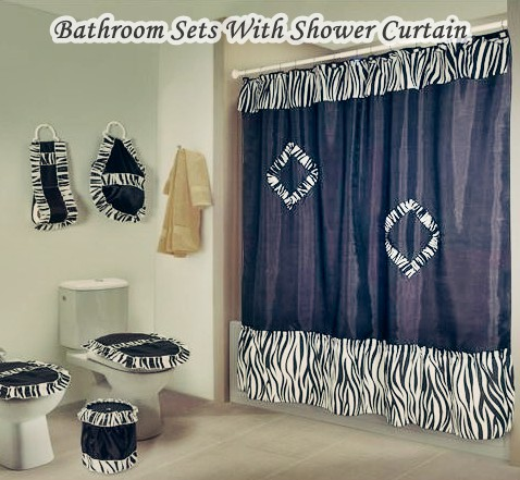 bathroom sets with shower curtain and rugs and accessories - hometiens