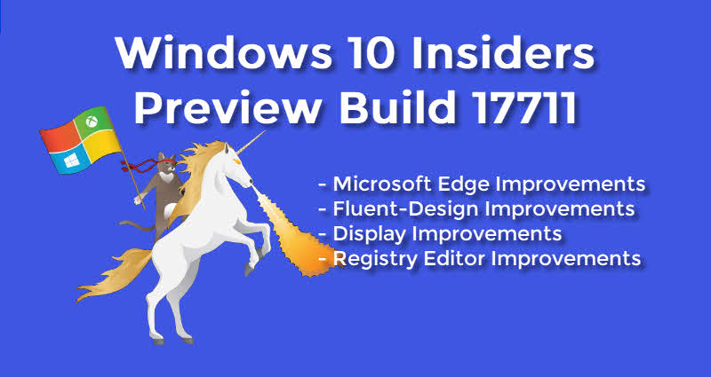 Windows 10 Insider Preview Build 17711 is now available to insiders