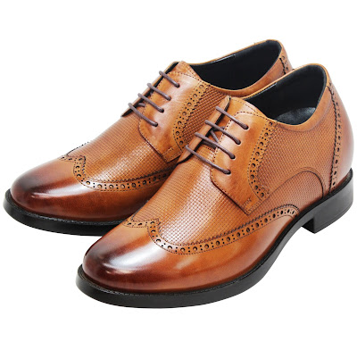 y4103 brown tan wingtip elevator shoes for wedding - tallmenshoes.com