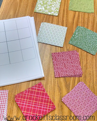 Getting the pieces ready for our class geometry quilt.