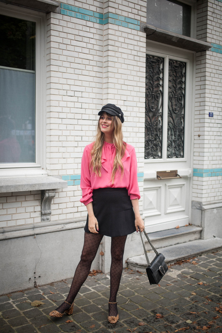Outfit: pink ruffle blouse, leopard mary janes