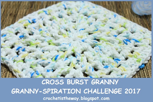 chart, cotton, crochet, diagram, dishcloth, double crochet cross stitch, free pattern, giveaway, granny square, Granny-Spiration Challenge 2017, in the round, linkup, square, washcloth