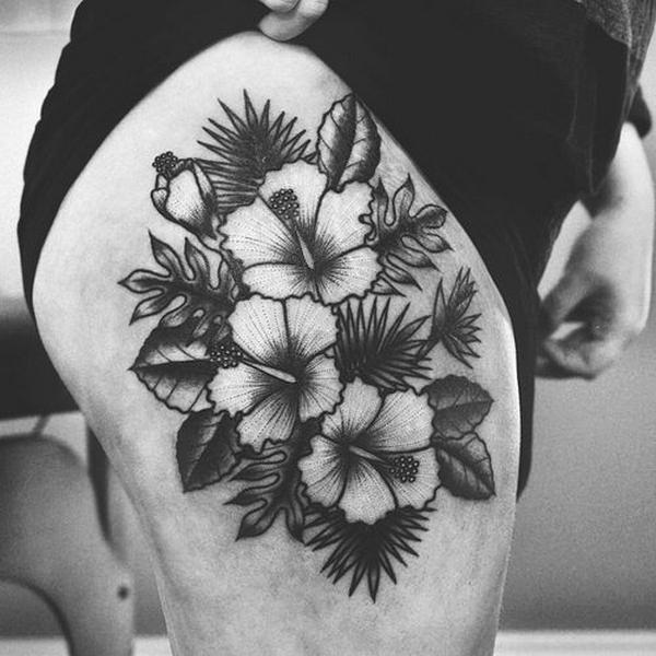 Best idea of black hibiscus tattoos