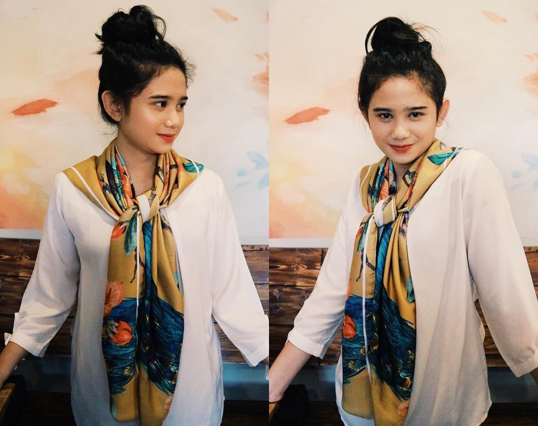 Tissa Biani Azzahra Pakai Baju Putih