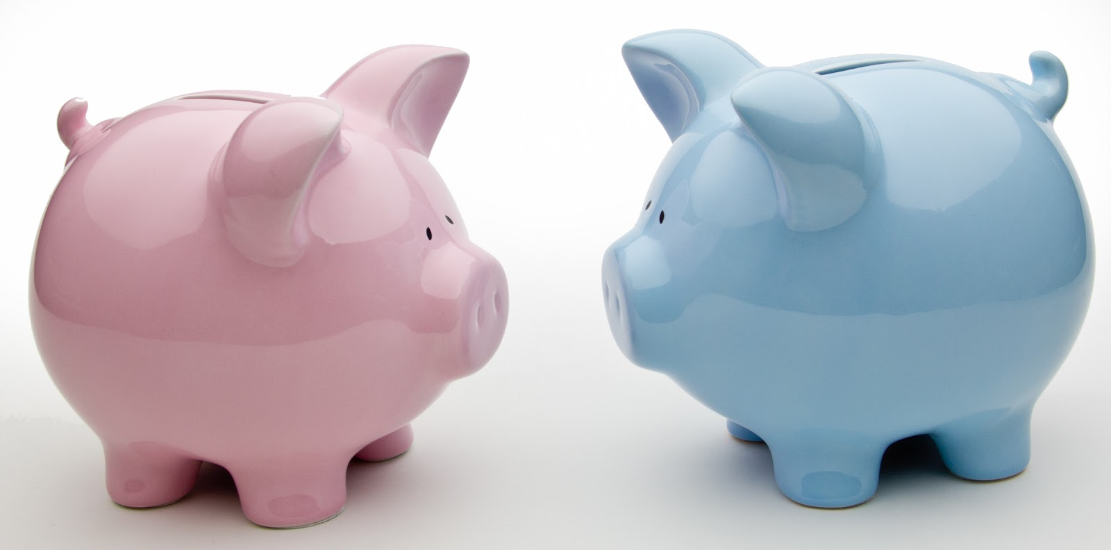 Pink and blue china piggy banks placed facing one another