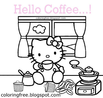Hot beverage clipart time for tea break Hello Kitty drinking milky coffee colouring pages for girls
