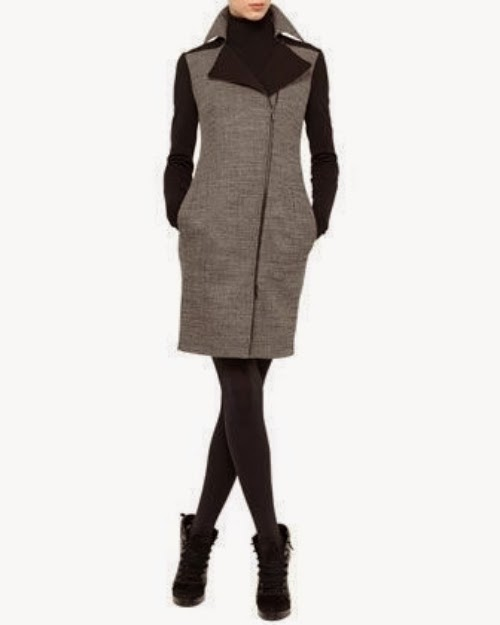 Akris Punto Bird's Eye Moto Coat Dress