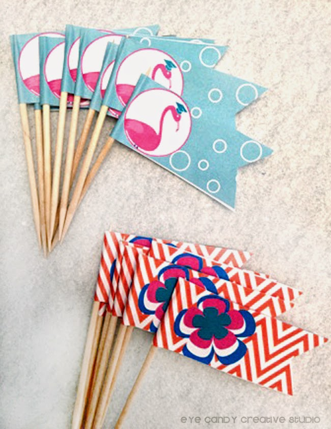 flamingos, bubbles, party flags, food decor flags, chevron, luau flower