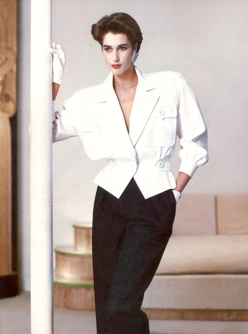 Yves Saint Laurent in Vogue US March 1986 via www.fashionedbylove.co.uk