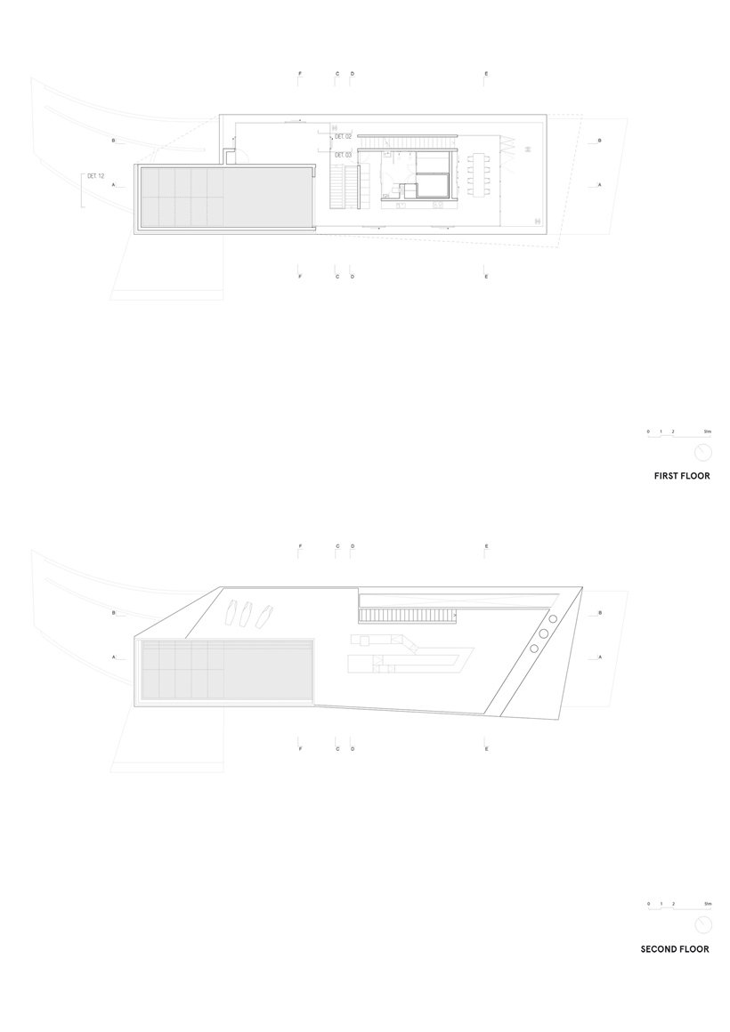 Upper two floor plans of the House with swimming pool by Wiel Arets Architects (WAA)