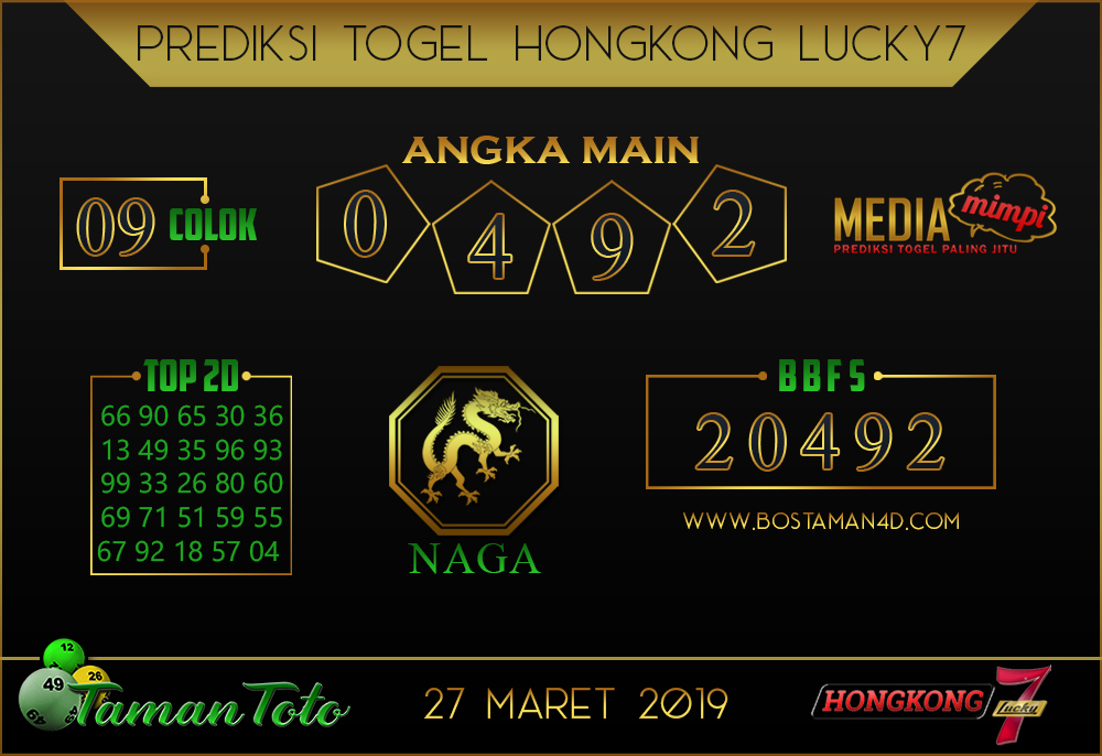 Prediksi Togel HONGKONG LUCKY 7 TAMAN TOTO 27 MARET 2019