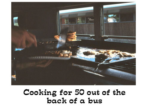 kitchen in the back of a bus