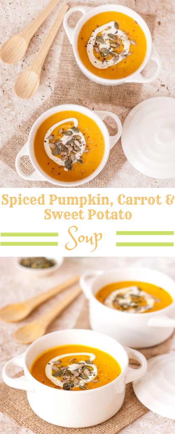 Spiced Pumpkin, Carrot & Sweet Potato Soup #dinner #lunch