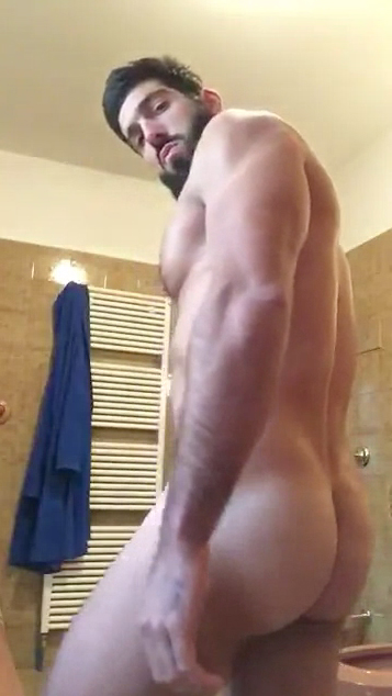 Straight bearded dude showing his big cock on cam