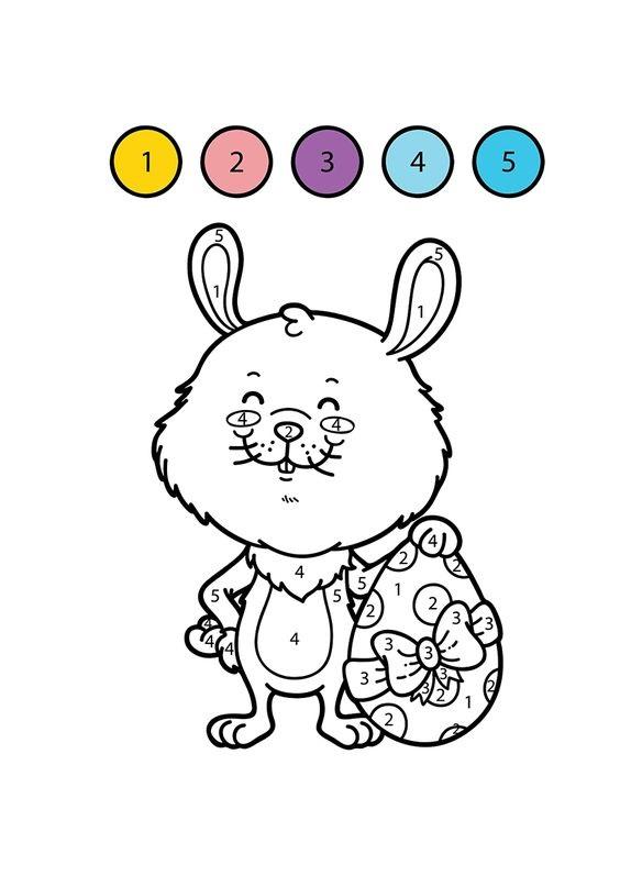 Hình tô màu con thỏ theo số