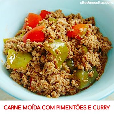 Carne moída com pimentões e curry