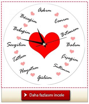 Sevgiliye Özel Sözler Duvar Saati