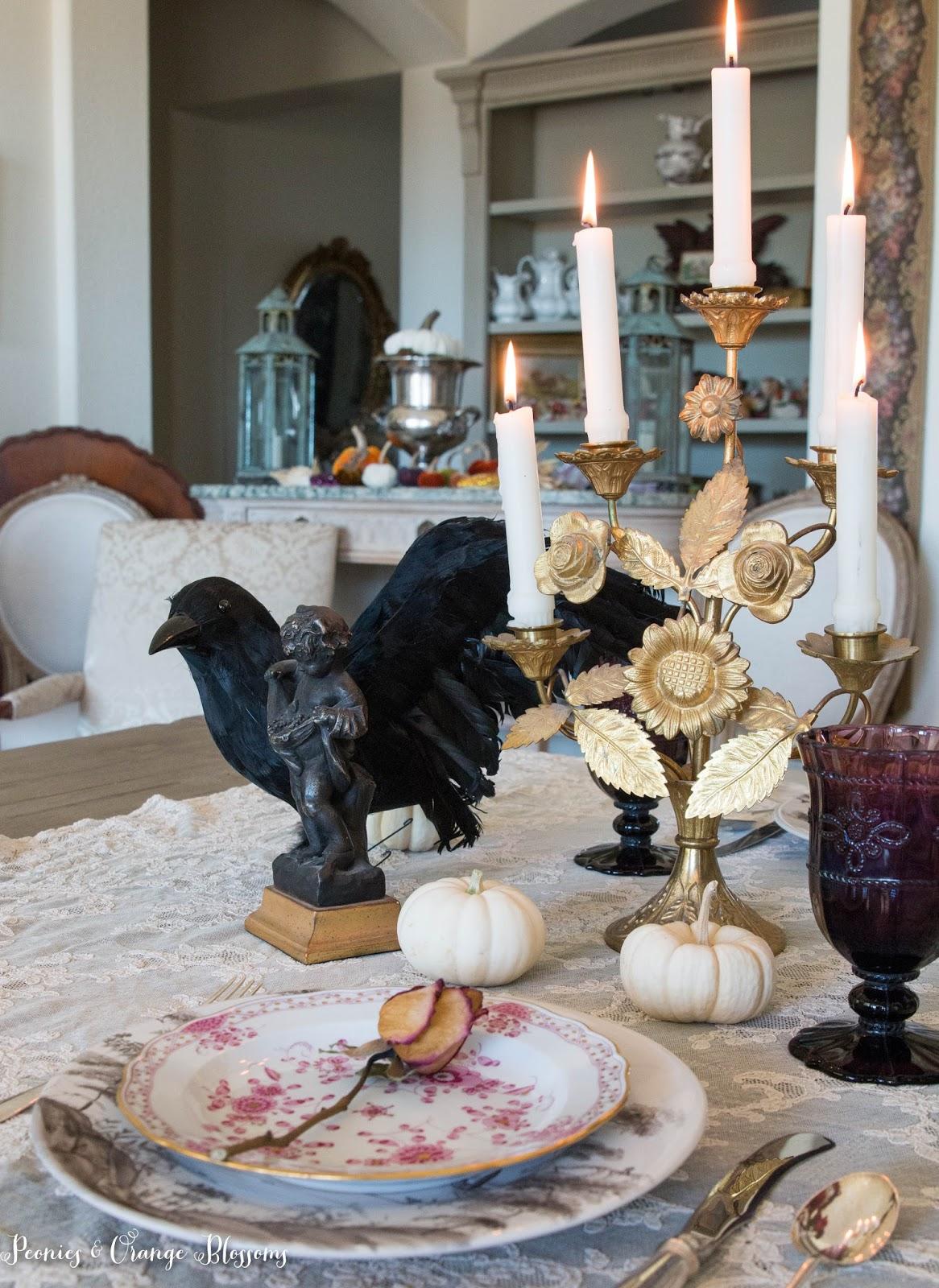Elegant French Gothic Halloween Tablesetting