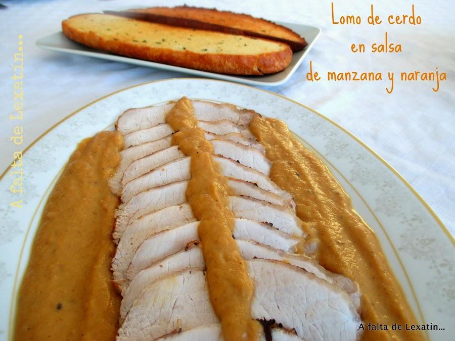 Lomo de cerdo con salsa de manzana y naranja