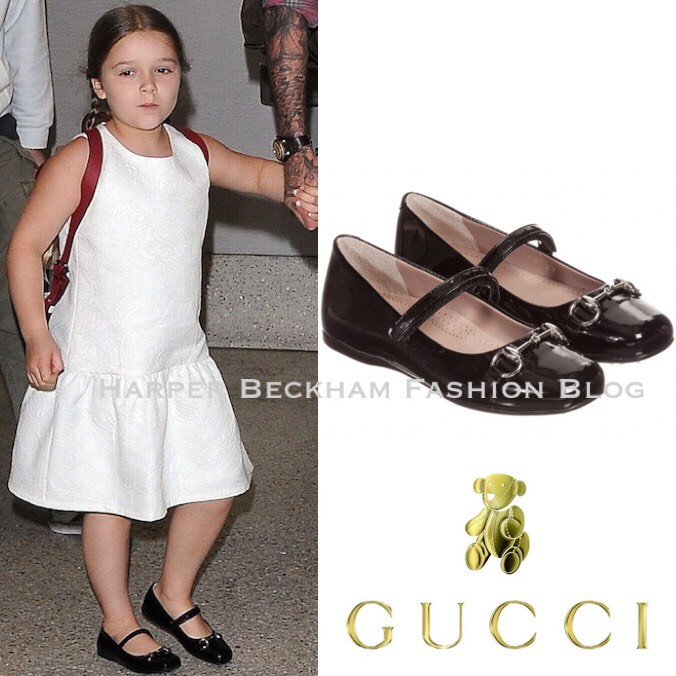 0f7a42316 Harper was wearing White Floral Jacquard Dress from Victoria Beckham for  Target Collection and Black Patent Horsebit Shoes by Gucci.