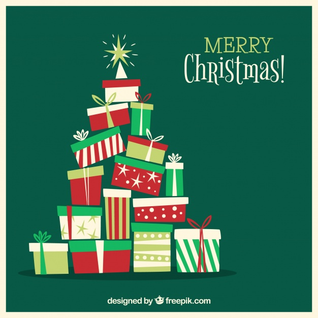 Christmas tree out of gift boxes Free Vector
