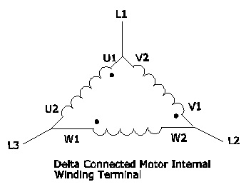 wiring diagram of delta connected electric motor internal wiring terminal