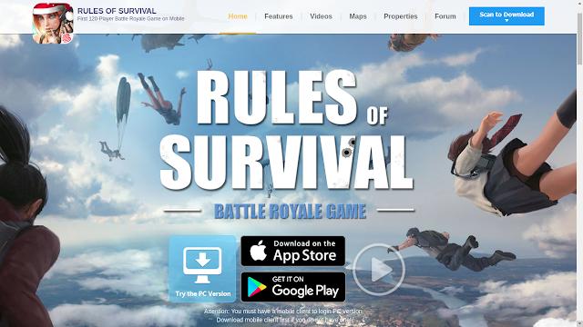 Tampilans situs game Rules of Survival