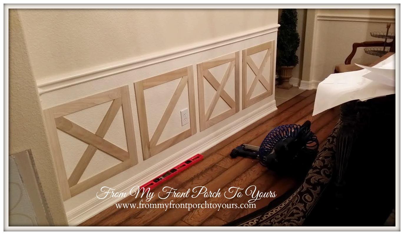 From My Front Porch To Yours DIY CrossbuckBarn Door Dining Room Wainscoting