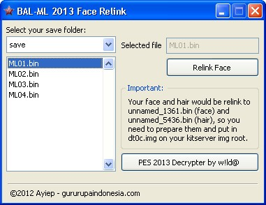 Cara Relink Face Manager PES 2013