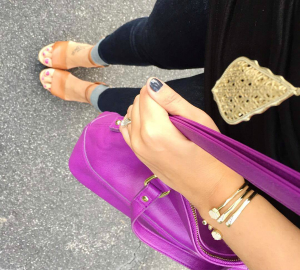 purple handbag, statement necklace