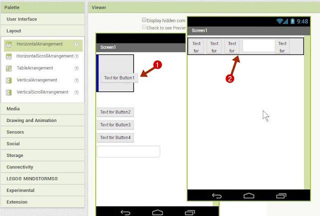 चारों Buttons और text box को Horizontal Arrangement में Drop करें