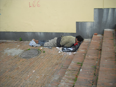 A homeless person 'resting' in broad daylight Bogotá's La Candelaria district