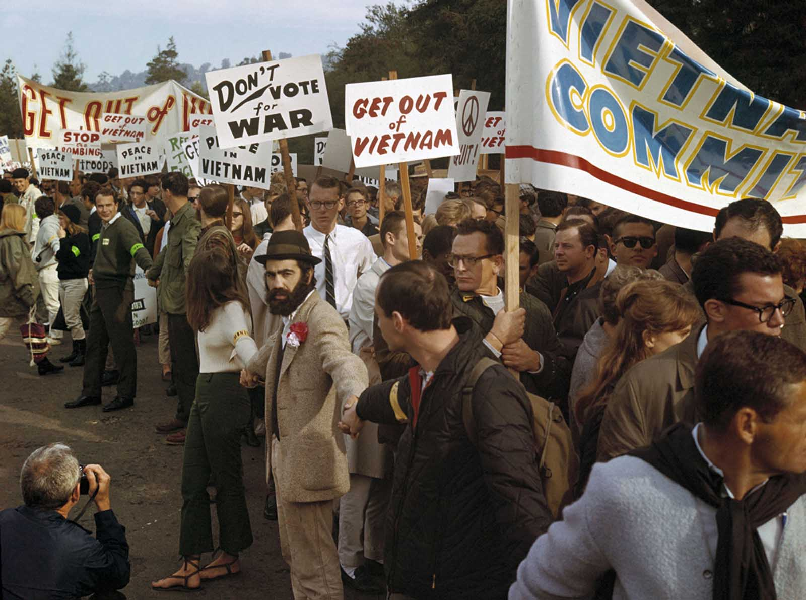In Berkeley-Oakland City, California, demonstrators march against the war in Vietnam in December of 1965.