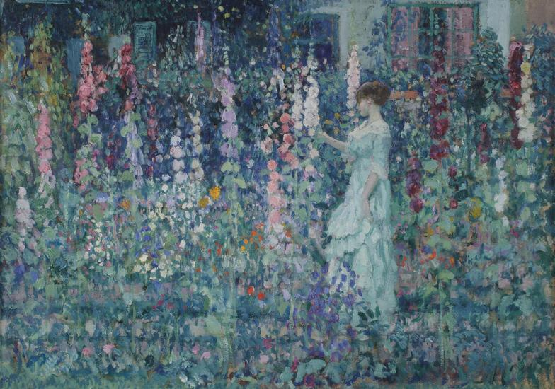 Frederick Carl Frieseke - Hollyhocks (Among the Hollyhocks), 1911,
