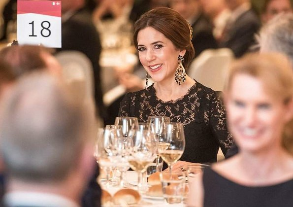Crown Princess Mary wore Dolce Gabbana lace dress, Amrita Singh Shabana pearl parring, and carried Carlend Copenhagen clutch