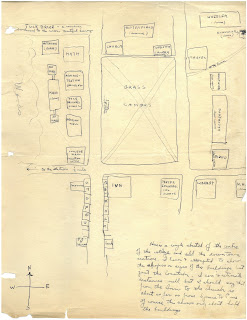 Hand-drawn map of campus