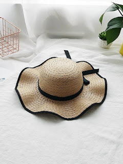 Contrast Trim Straw Hat With Bow