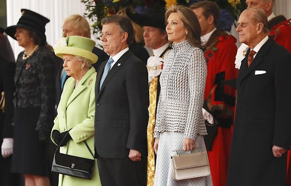 Queen Elizabeth, President Juan Manuel Santos, Maria Clemencia Rodriguez, Prince Philip, Prince Charles, Camilla, Duchess of Cornwall