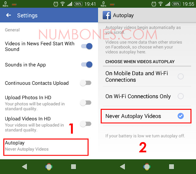 Turn off Autoplay Facebook Video in Android