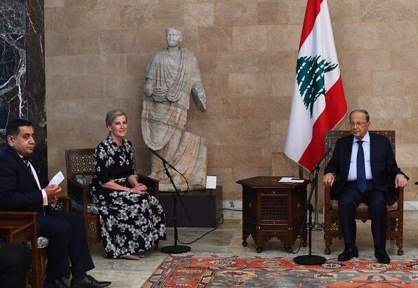 Countess of Wessex wore Suzannah peace lily shirt dress. Prime Minister of Lebanon, Saad Hariri. President Michel Aoun