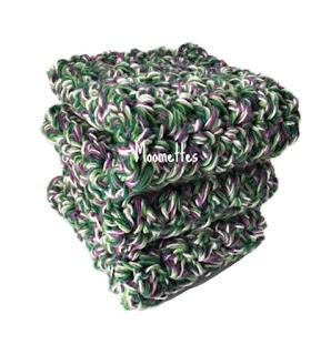 Handmade Dish Cloths Farmhouse Green Purple