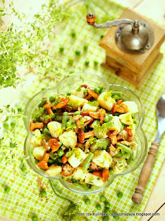 salatka z grzybami, salatka kartoflana, kurki kiszone, ziemniaki, zielone warzywa, grzyby
