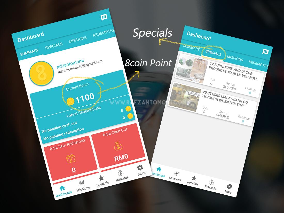 Aplikasi 8coin - Platform Untuk Jana Pendapatan Melalui Media Sosial Anda