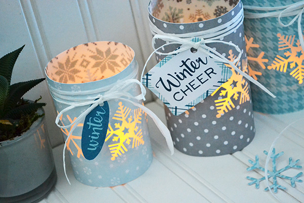 Winter Luminaries by Aly Dosdall for Echo Park Paper #wintercrafts #luminaries #DIY